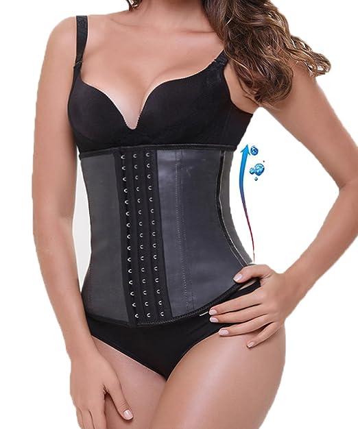 d772ccd25bcf9 GIRL MELODY Womens Latex Slimming Faja Waist Cincher Waist Trainer Body  Shaper(Black
