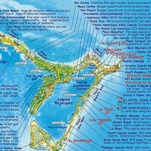 Cancun Riviera Maya Mexico Adventure Dive Map Laminated Poster - Cancun hotel zone map