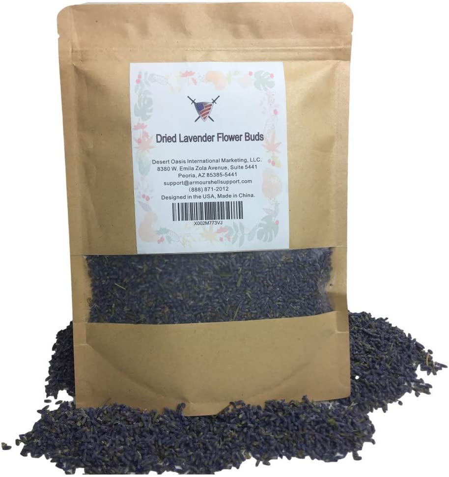 Organic Dried Lavender Flower Buds - 4 oz Edible Flowers To Be Added To Tea and Food Offering Healing Benefits, Anxiety and Stress Relief. Enjoy Premium Quality Product From Armour Shell. (1 Pack)