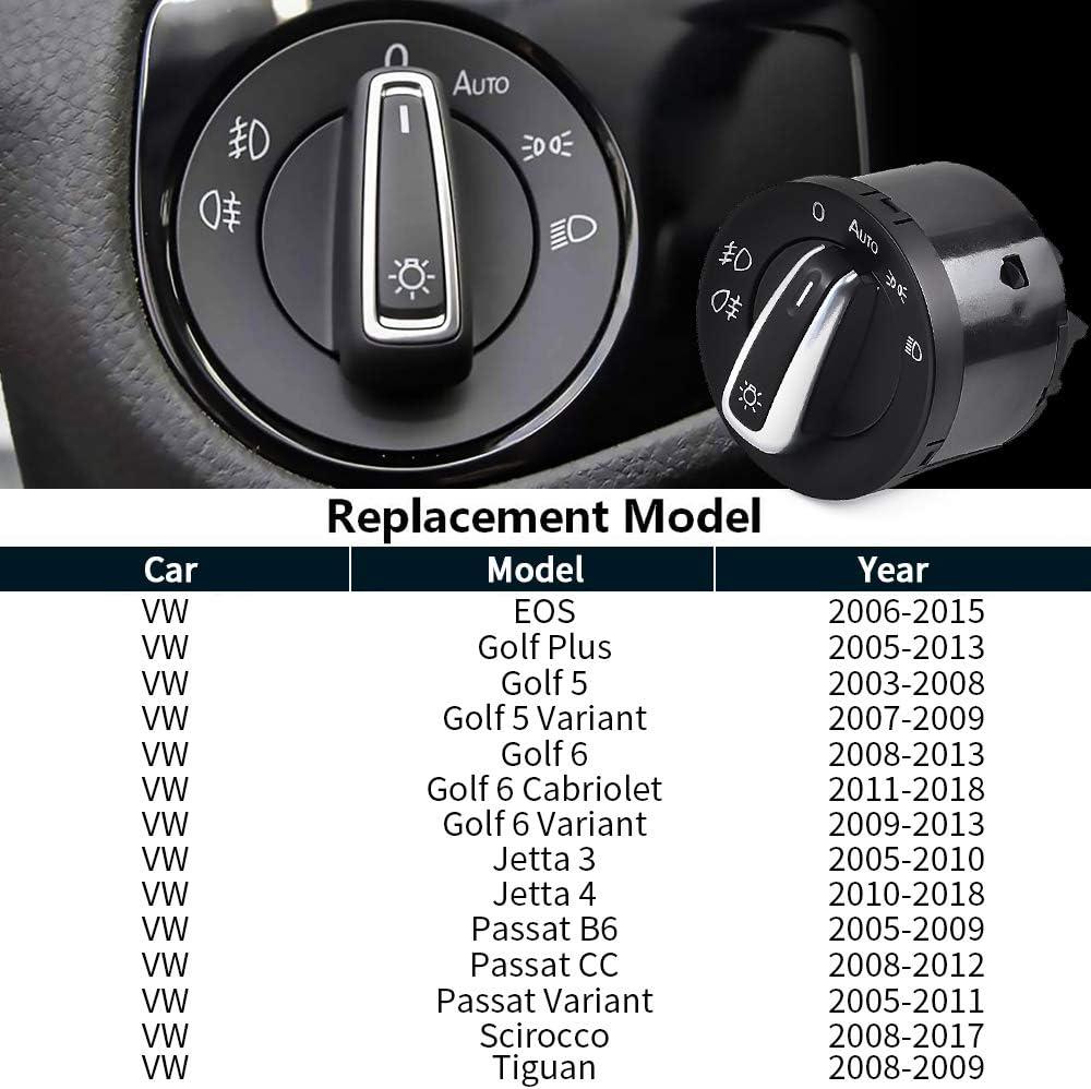 Seiten Spiegel Schalter Dreh Knopf Chrom-Optik für VW JETTA III 3 EOS CC