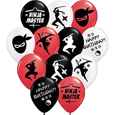 "Gypsy Jade's Ninja Master Party Balloons - 12"" Large Red, Black and White Latex Balloons for Ninja Themed Parties!…: Toys & Games"
