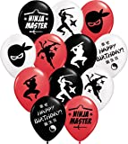 """Gypsy Jade's Ninja Master Party Balloons - 12"""" Large Red, Black and White Latex Balloons for Ninja Themed Parties!…"""