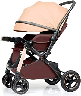 Four Rounds Baby Stroller can Sit and Lie Down Aluminum Frame Toddler Seat Two-Way Newborn Carriage Folding Pushchair Suitable for 0-5 Years Old (Brown)