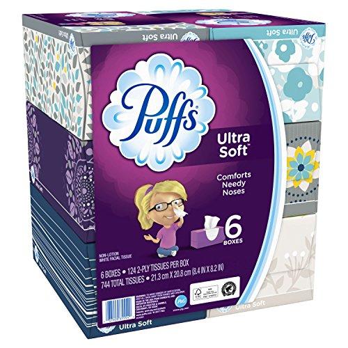 Puffs Ultra Soft Facial Tissues, 6 Family Boxes, 124 Tissues per Box