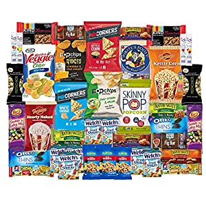 Healthy Snacks Care Package Snack Box for College Students, Valentines Day, Gift Basket, Fathers Day, Get well, Military and Back to School with Chips, Cookies, Granola Bars and Nuts (40 Count)