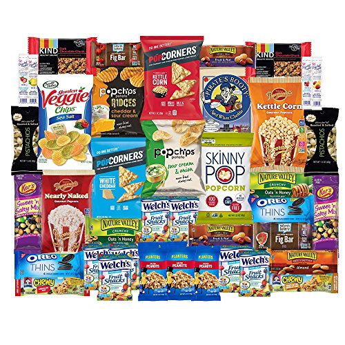 - Healthy Snacks Care Package Snack Box for College Students, Finals, Easter, Gift Basket, Fathers Day, Get well, Military and Back to School with Chips, Cookies, Granola Bars and Nuts (40 Count)