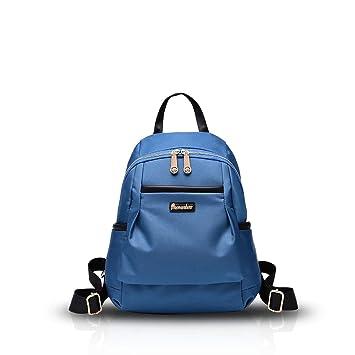 Nueva mochila del hombro de la muchacha Bolsas Escuela Oxford tela impermeable simple Versátil azul Nicole&Doris