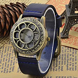 6 Colors Original High Quality Women Genuine Leather Vintage Watches (Blue)