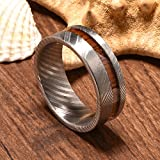 DOUX 8mm Mens Damascus Steel Wedding Ring Real Wood Inlay Statement Ring Flat Style 9.5