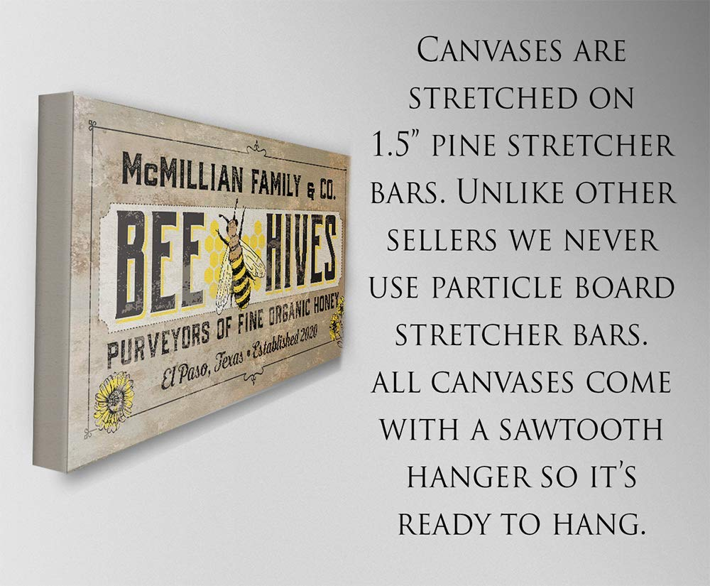 Bee Hives Not Printed on Metal or Wood - Stretched on a Heavy Wood Frame Personalized Perfect Farmhouse Decor in Kitchen or Dining Room Great Gift Large Canvas Wall Art