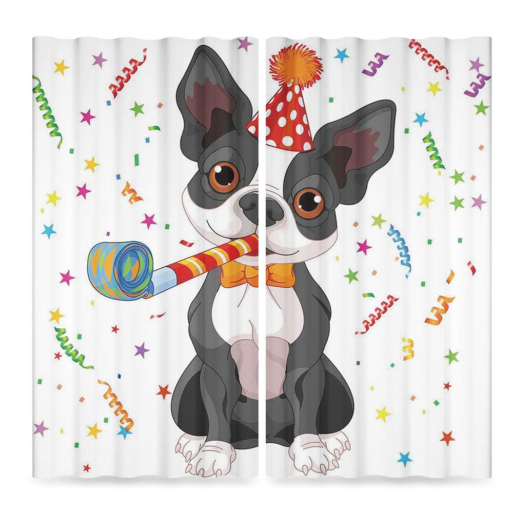 Birthday Decorations for Kids Window Curtains Blackout,Black and White Boston Terrier with Colorful Party Backdrop,for Bedroom Living Dining Room Kids Youth Room, 2 Panel Set,28W X 39L Inches