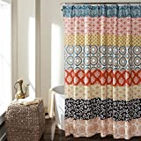 "Lush Decor 16T000209 Bohemian Stripe Shower Curtain, 72"" x 72"", Turquoise/Orange"