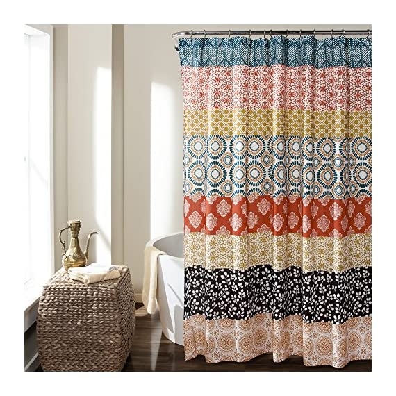 """Lush Decor 16T000209 Bohemian Striped Shower Curtain Colorful Bold Design, 72"""" x 72"""", Turquoise and Orange - Soft,  100% polyester fabric bathroom shower curtain with a bold,  cute and unique design to enhance  your space. Fun,  decorative design with floral and geometric striped patterns for a mix of modern and boho style shower curtain. Lush Décor Boho stripe shower curtain is the ideal piece for your rustic,  yet chic,  bohemian bathroom decor. - shower-curtains, bathroom-linens, bathroom - 61DcNN45dhL. SS570  -"""