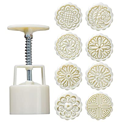 Fainosmny DIY Powerful Mooncake Molds Circle Flower Square Traditional Mid-Autumn Festival Cake Mould Baking Mold White: Clothing