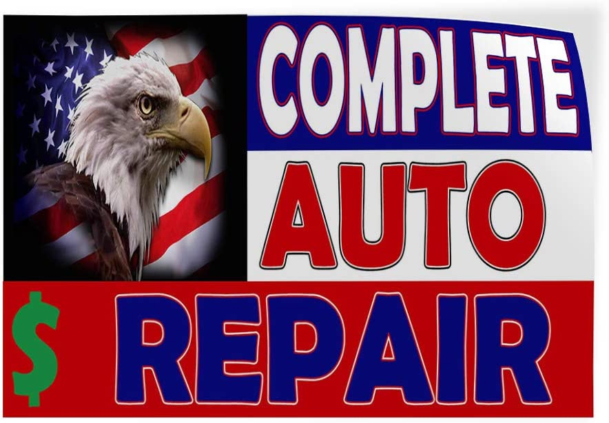14inx10in Set of 10 Decal Sticker Multiple Sizes Complete Auto Repair BlueWhiteRed Automotive Car Outdoor Store Sign Blue