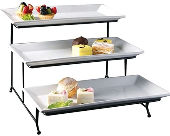 3 Tier Rectangular Serving Platter Three Tiered Cake Tray Stand Food Server Display Plate Rack White By Gibson Amazon Co Uk Kitchen Home