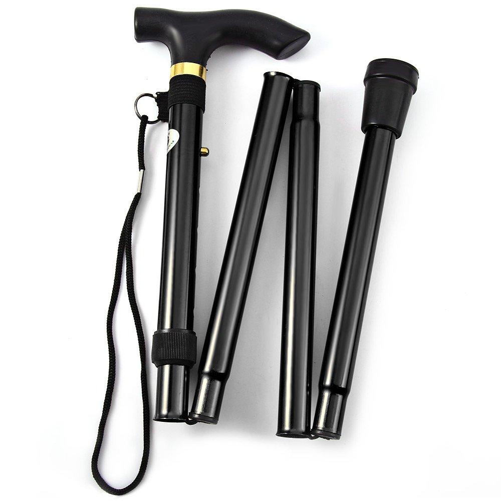 Folding Walking Stick,Adjustable Cane Aluminum Metal Collapsible Ergonomic Handle Lightweight Quick Locks Trail Poles With Non-Slip Rubber Base For Hiking Trekking Travel (Black)