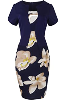Babyonlinedress Babyonline Womens Patchwork Floral Print Business Work Bodycon Pencil Dress