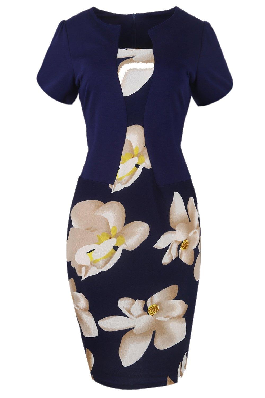 Women's Floral Print Short Sleeve Split Cocktail Party Bodycon Dress (Navy,L)