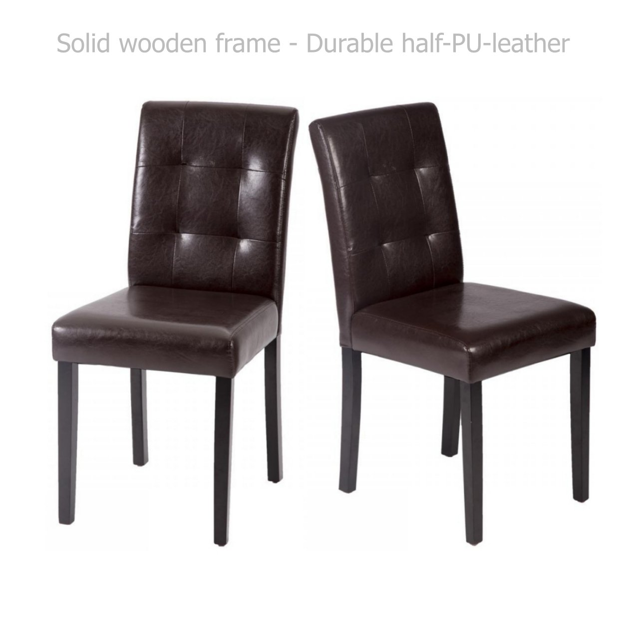 Modern Dining Chairs Sturdy Wooden Frame Tufted Backrest Design Half PU Leather Seats Home Office Furniture Decor - Set of 2 Brown #1550