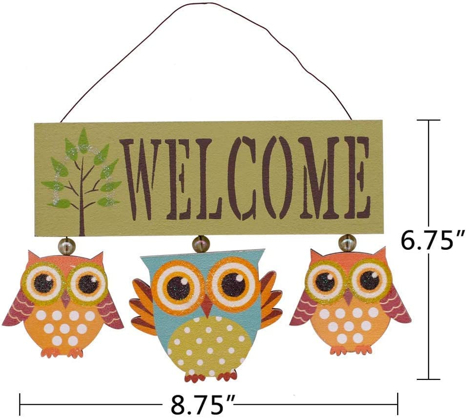 Amazon Com Attraction Design Primitive Country Wood Welcome Owl Sign Door Hanging Owls Decor Wall Art Home Kitchen