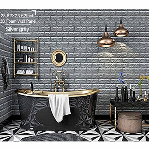 3D Wallpaper Brick Panel Foam Sticker Contact Vinyl Tile Wall Decor 6Pack Silver Grey (Torn Paper Wallpaper)