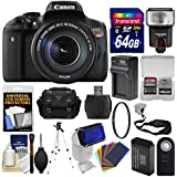 Canon EOS Rebel T6i Wi-Fi Digital SLR Camera & EF-S 18-135mm IS STM Lens with 64GB Card + Case + Flash + Battery & Charger + Tripod + Remote + Kit