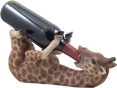 Drinking Giraffe Wine Bottle Holder Statue