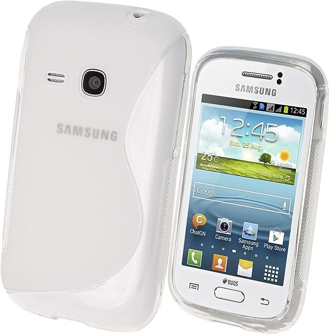 igadgitz S Line Claro Durable Crystal Gel Skin (Tpu) funda de silicona para Samsung Galaxy Young S6310 Android Smartphone Mobile Phone + Protector de ...