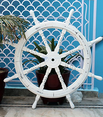 Nautical Handcrafted Wooden Ship Wheel - Home Wall Decor - Nagina International (36 Inches, Antique White)