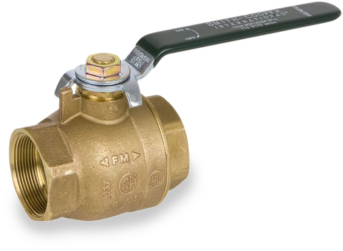Lever Handle Inline 3//4 NPT Female Smith-Cooper International 8170L Series Brass Ball Valve for Potable Water Service
