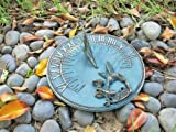 Solid Brass Hummingbird Sundial 8'' Inches Wide