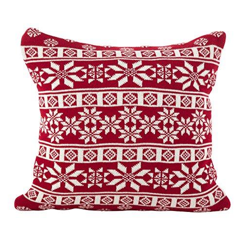 SARO LIFESTYLE Winter Snowflake Nordic Design Poly Filled Throw Pillow, 18