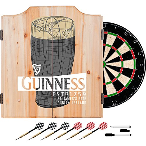 Officially Licensed Guinness Beer Art Design Deluxe Wood Cabinet Complete Dart Set by TMG
