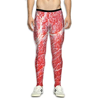 9474d7aa5cd330 Mens Compression Leggings Pants Beef Raw Red Meat Texture Running Tights  High Waist Sports Trousers