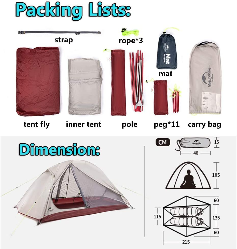 Outdoor Waterproof Tent Double Layer 20D Silicone Camping Tent for Hiking Travelling Mountaineering NH Updated Version 2 Person Trekking Tent