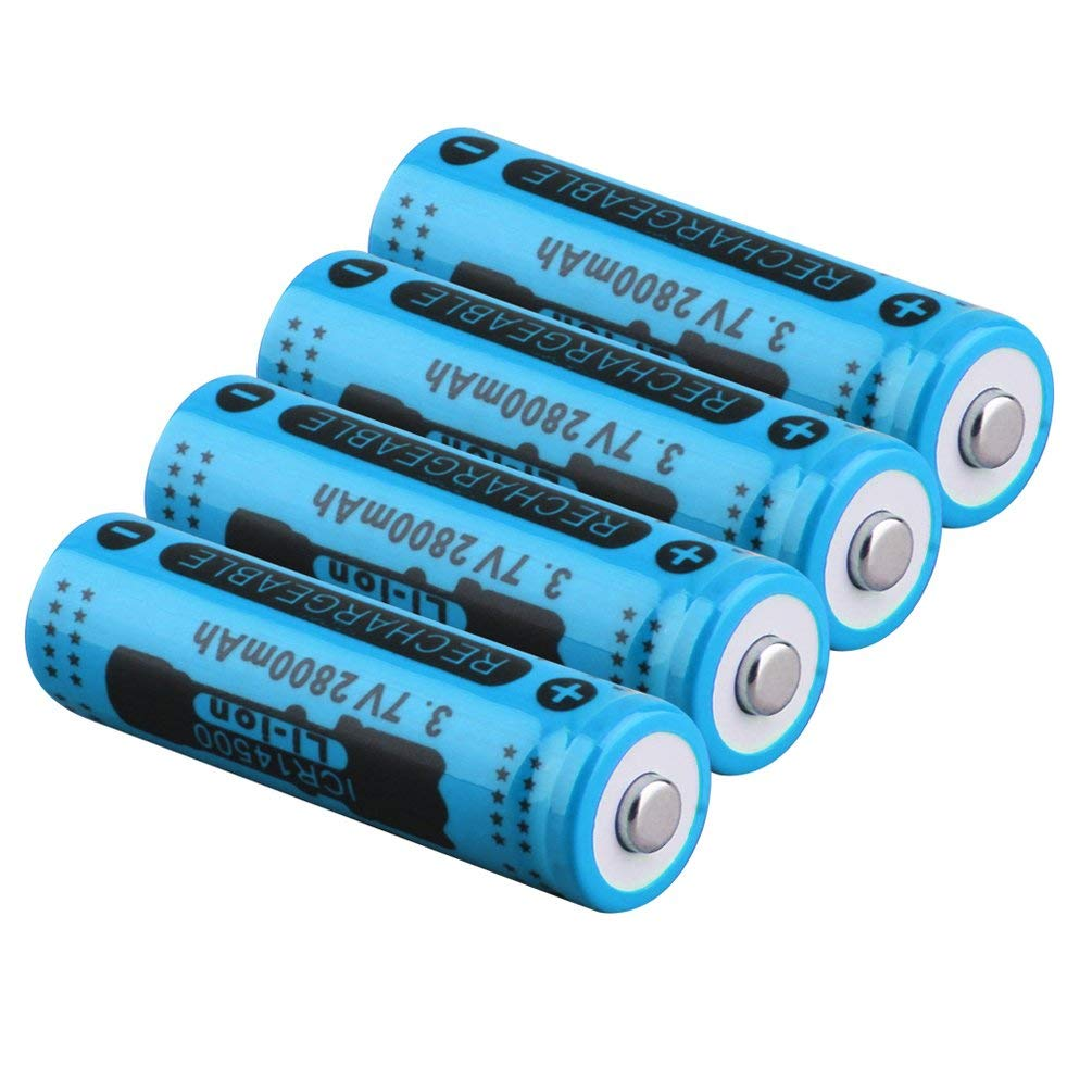 3.7V 2800mAh 14500 Battery Large Capacity Li-ion Rechargeable Battery Replacement for Flashlight Torch Battery Oyamihin