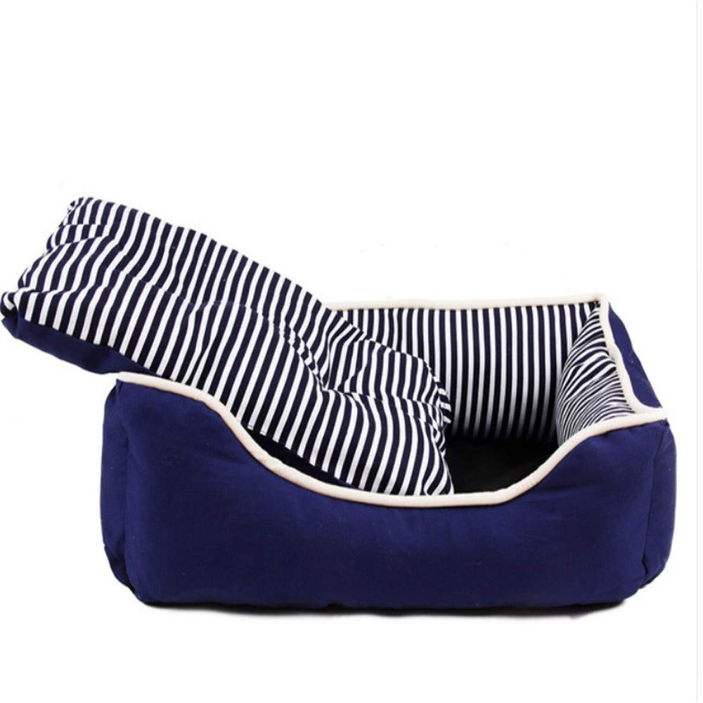 bluee Wuwenw Stripe Square Kennel Warm Cozy Soft Winter Spring Cat Dog House Removable Cushions Puppy Nest bluee Red Fashion,bluee