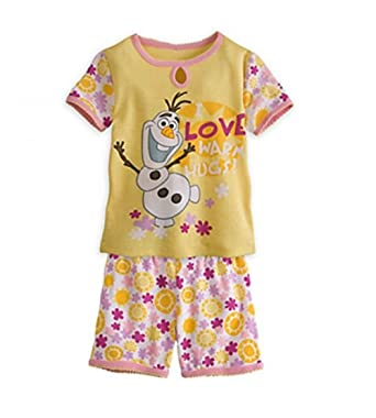 Disney Girls Size 10 Frozen Olaf Love Warm Hugs Yellow Pajama Shorts Set