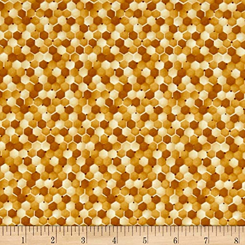 (Fabri-Quilt Paintbrush Studio Bee Kind Abstract Fabric, Orange, Fabric By The Yard )