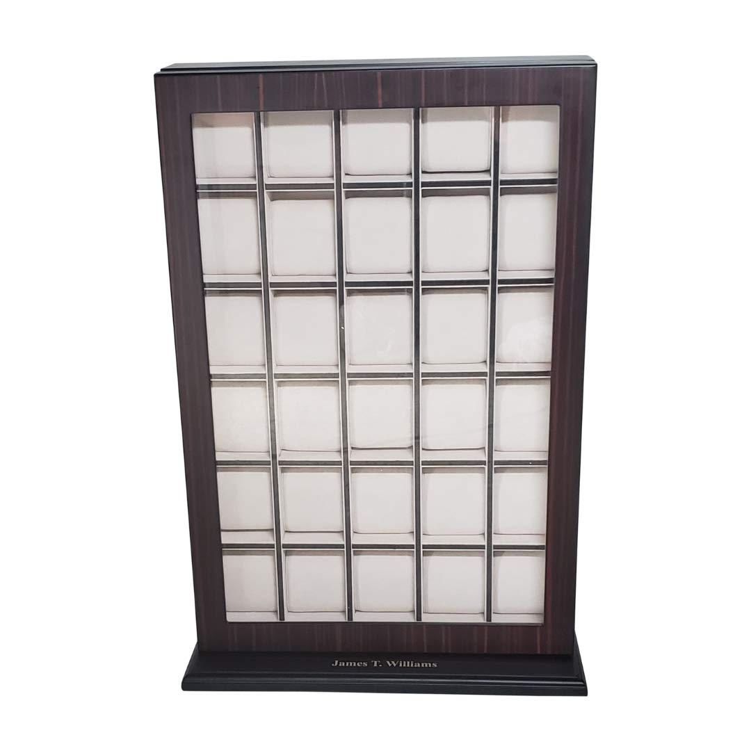 30 Piece Ebony Wood Personalized Watch Display Wall Hanging Case and Storage Organizer Box and Stand