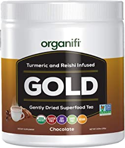 Organifi - Gold Chocolate - Superfood Supplement Powder - 30 Day Supply - Experience Deeper Sleep - Immunity and Cognitive Function Support - Sun-Ripened Cocoa, Turmeric and Reishi Infused