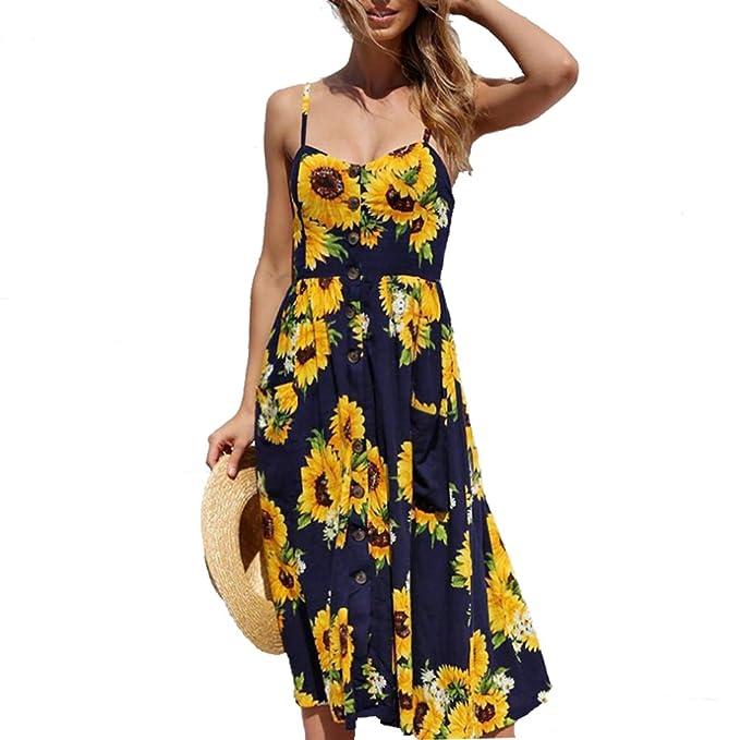 b3cca3fc65 Nicesnowman Women Dresses Summer Holiday Sundress Floral Bohemian Spaghetti  Strap Button Down Swing Midi Dress with