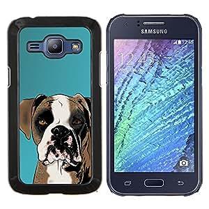 YiPhone /// Prima de resorte delgada de la cubierta del caso de Shell Armor - Boxeador del dibujo del arte del perro de Brown Blanca - Samsung Galaxy J1 J100