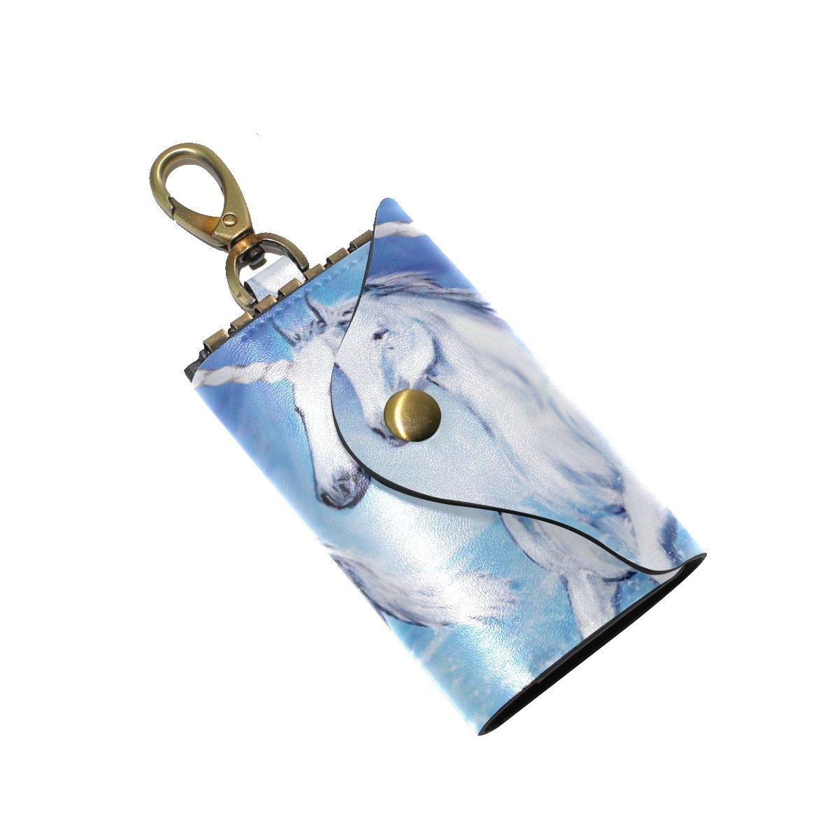 DEYYA Unicorn Leather Key Case Wallets Unisex Keychain Key Holder with 6 Hooks Snap Closure