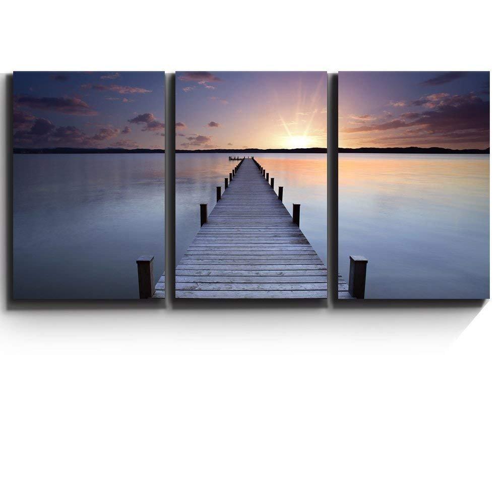 "wall26 - Calm Lake Scene at Sunset - Canvas Art Wall Decor - 16""x24""x3 Panels"