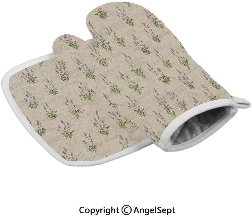 Vintage Grunge Pattern with Bunch of Herbal Blossoms Faded Retro Texts,Professional Polyster Insulated Grilling Gloves,Lavender Green Beige,Best Protective Insulated Kitchen-Food Safe