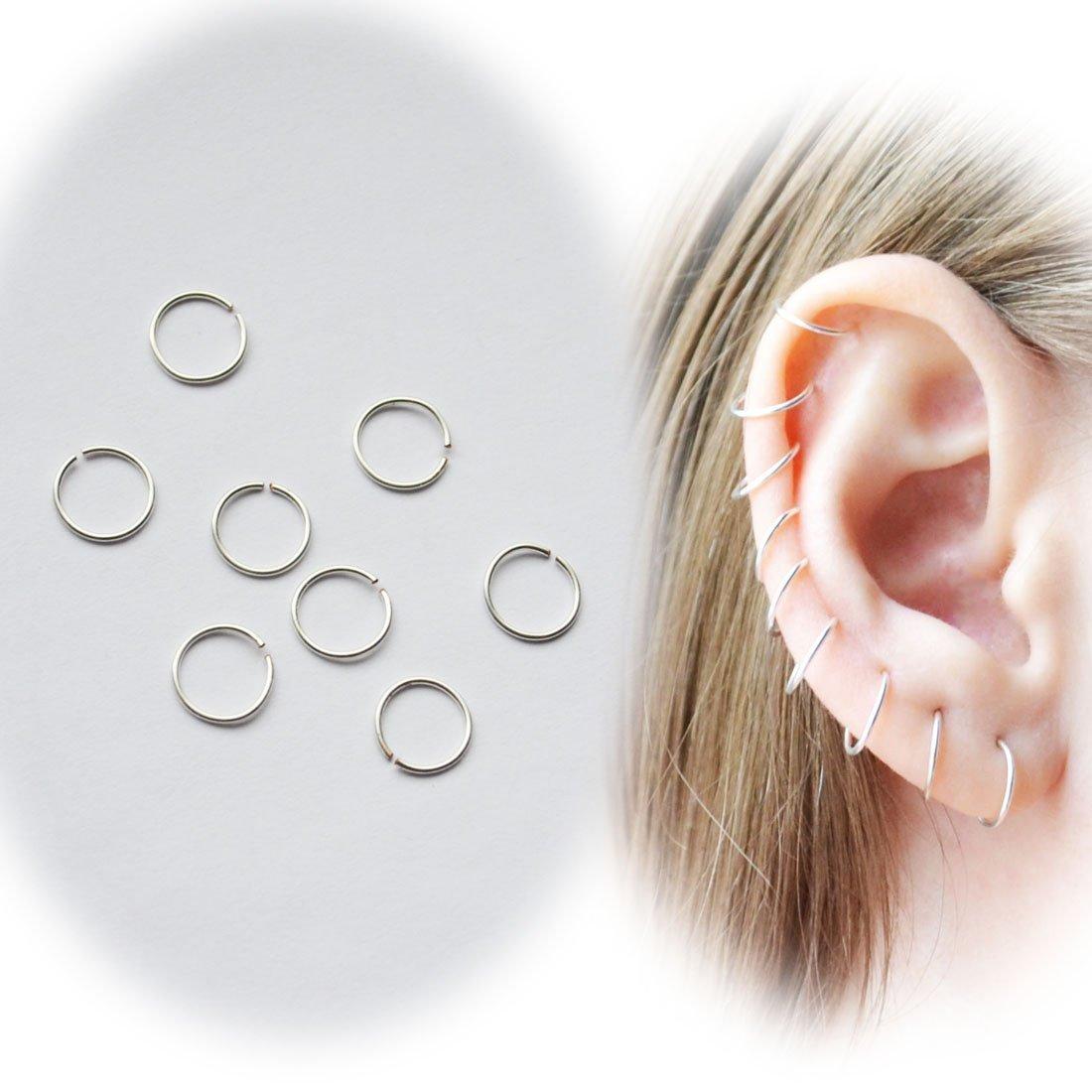 Amazon.com  Set of 40 PIECES Mini Silver Plated Hoops one size 8 mm 24  Gauge Sensitive Ears Earrings Little Hoop Earrings Round Man f7415fbea4fa4