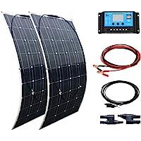 XINPUGUANG 200W kit de Panel Solar 2pcs 100w módulo monocristalino flexible 20A controlador para automóvil, embarcaciones, marina, autocaravana, caravanas, batería de 12v (Blanco)