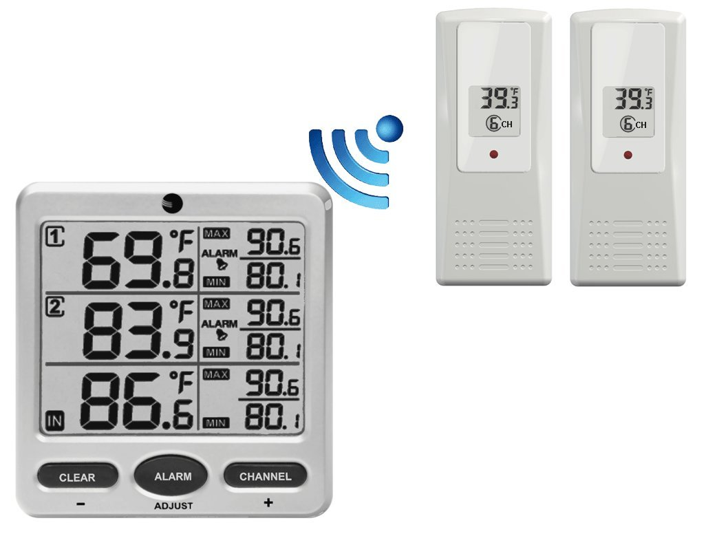 Ambient Weather WS-21 Wireless 8-Channel Thermometer with Two Remote Sensors